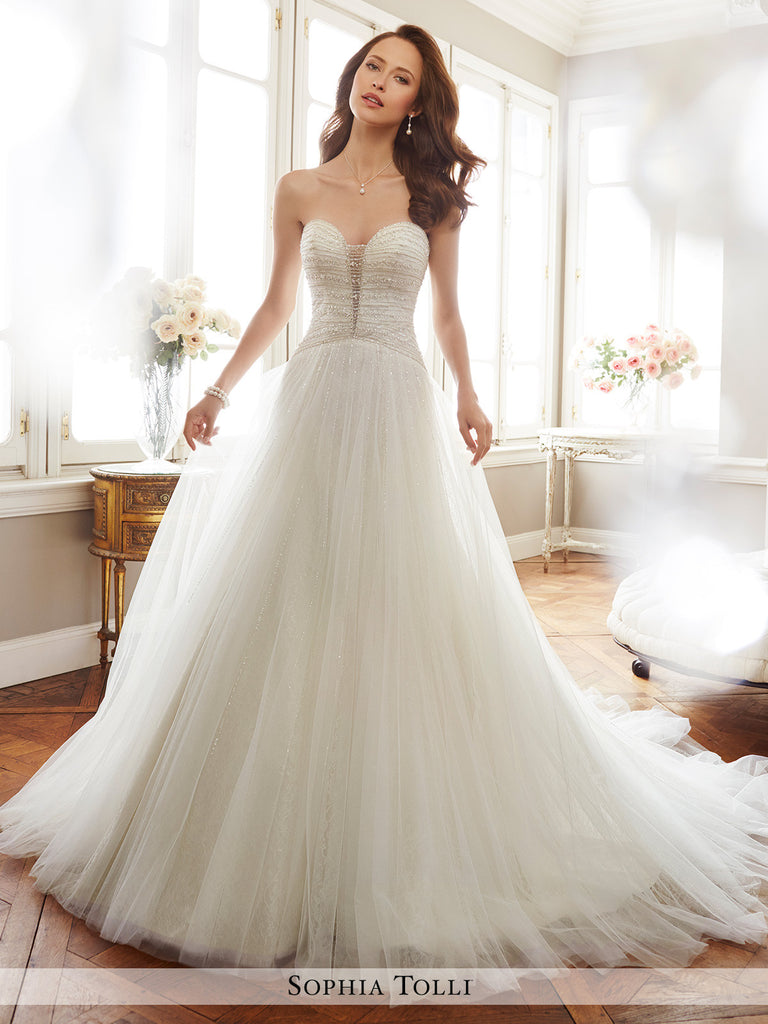Sophia Tolli strapless misty tulle A-line with soft allover lace wedding gown