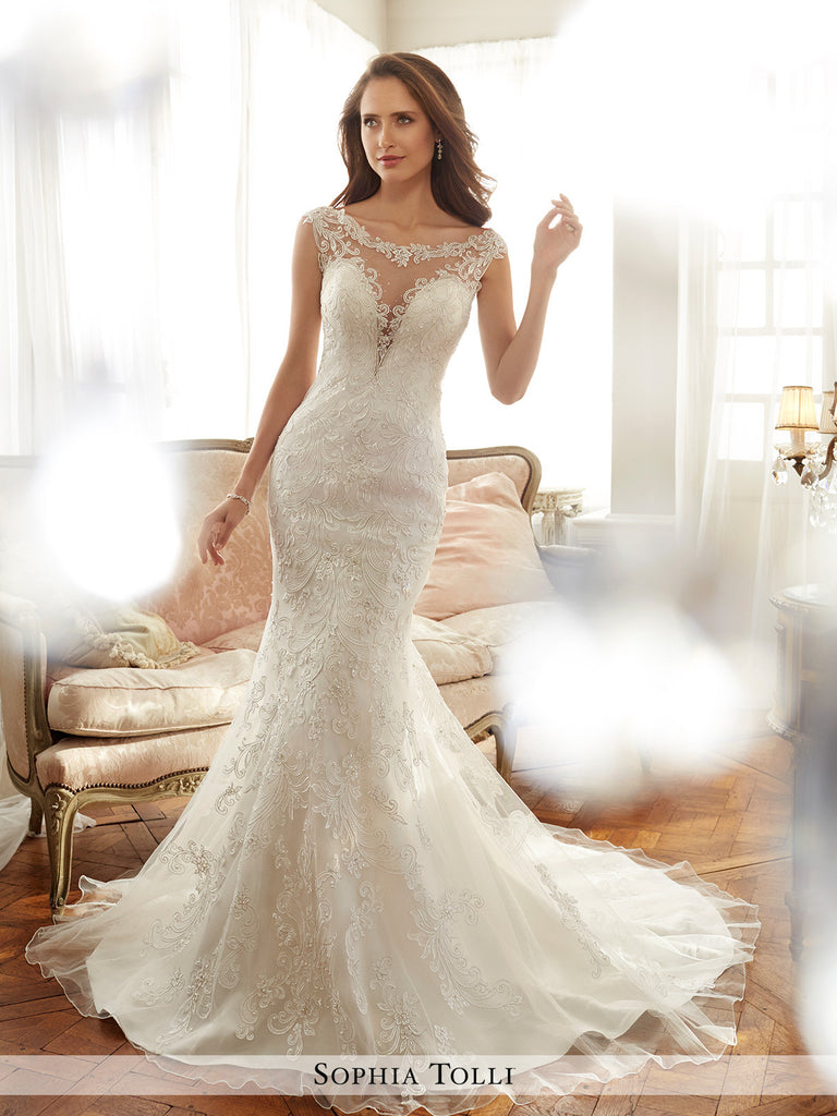 Sophia Tolli misty tulle soft trumpet with lightly hand-beaded lace wedding gown