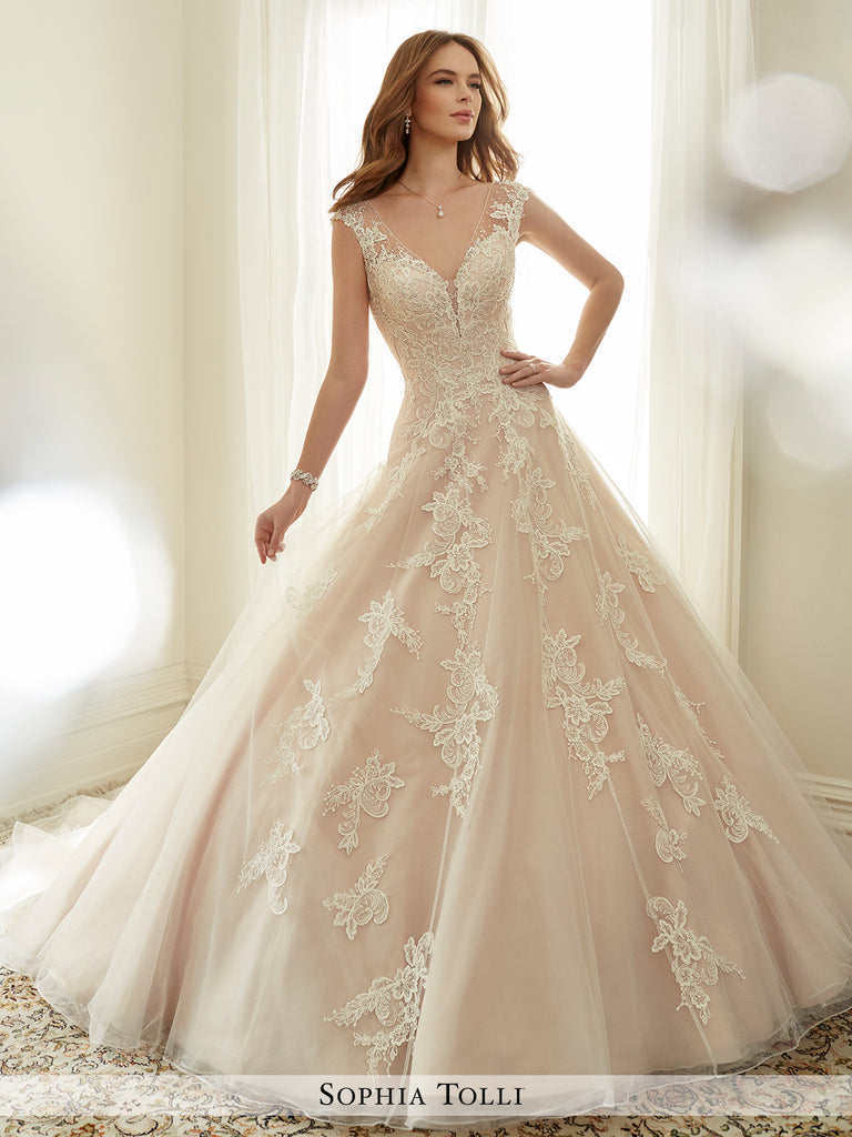 Sophia Tolli misty tulle with illusion slight cap sleeves and scattered beading wedding ball gown