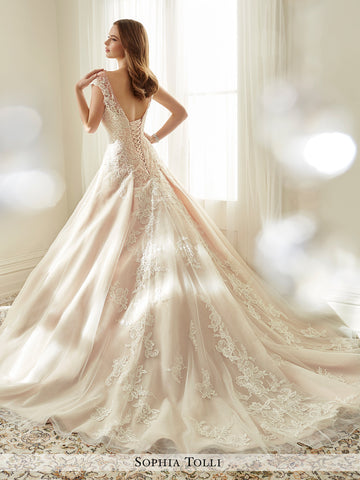 f2fa07d9161 ... Sophia Tolli misty tulle with illusion slight cap sleeves and scattered  beading wedding ball gown