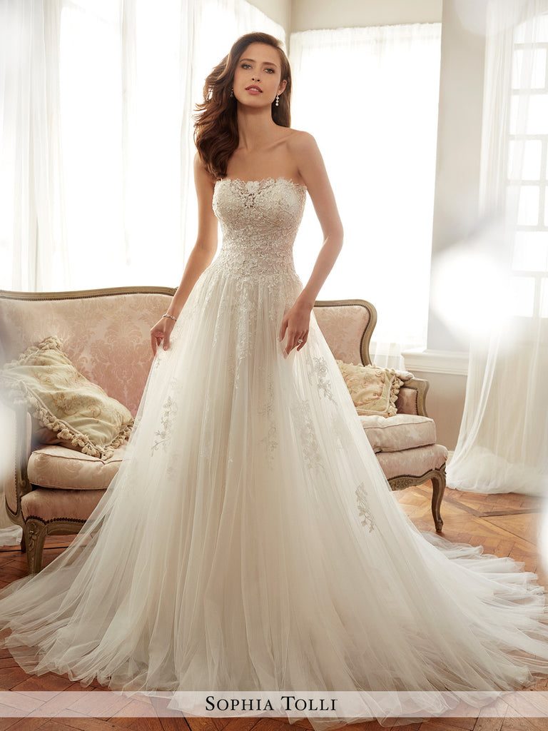 Sophia Tolli strapless tulle soft A-line with semi-sheer neckline ...