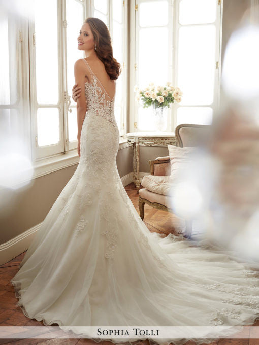 Sophia Tolli sleeveless misty tulle mermaid with slender illusion shoulder straps wedding gown