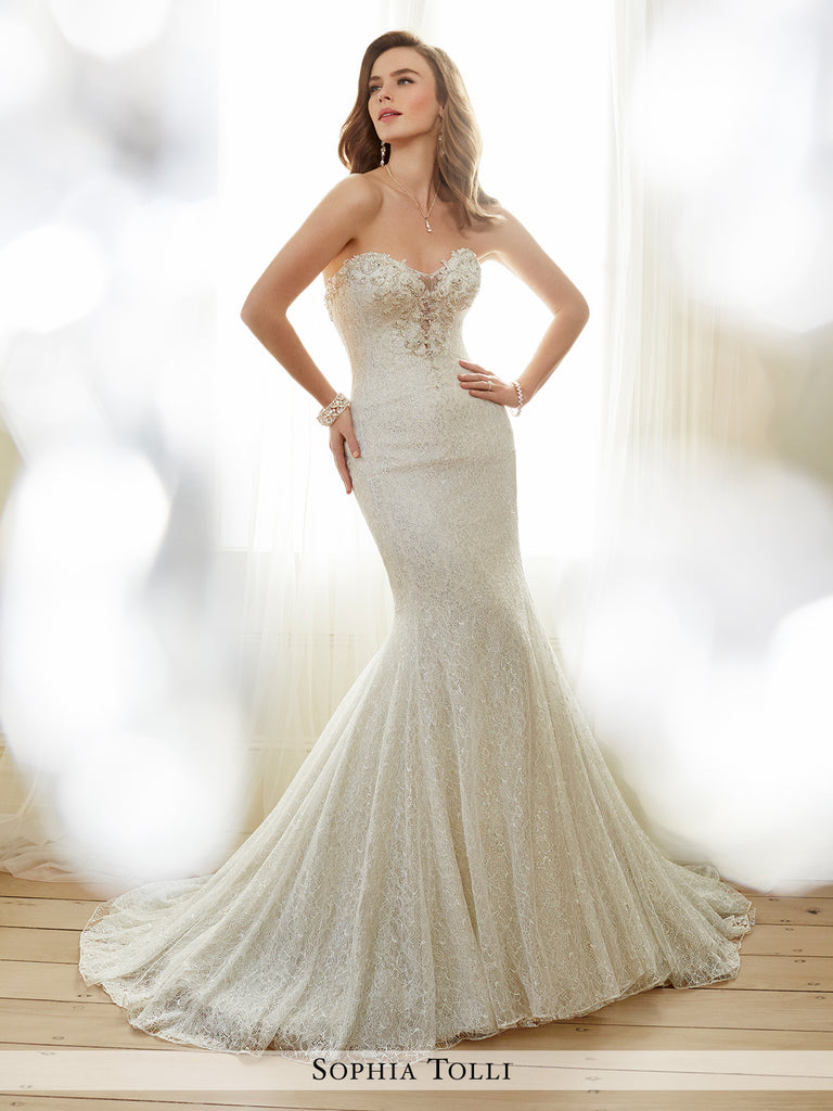 Sophia Tolli strapless allover shimmer lace and soft tulle over corded metallic lace trumpet with sweetheart neckline wedding gown