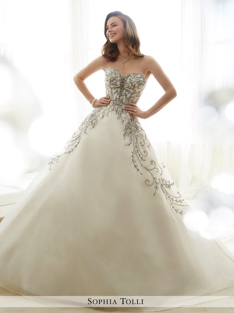Sophia Tolli strapless organza with plunging sweetheart neckline wedding ball gown