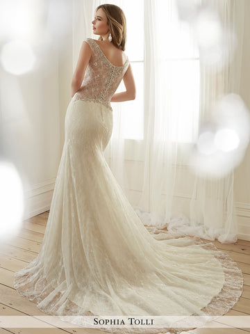 Sophia Tolli allover lace and sequin mermaid with hand-beaded illusion and  V-neckline  wedding gown