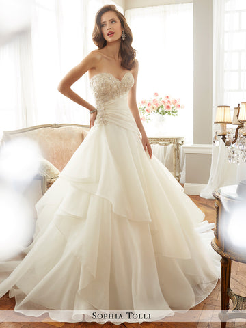 Sophia Tolli strapless fantasy organza A-line with sweetheart neckline wedding gown