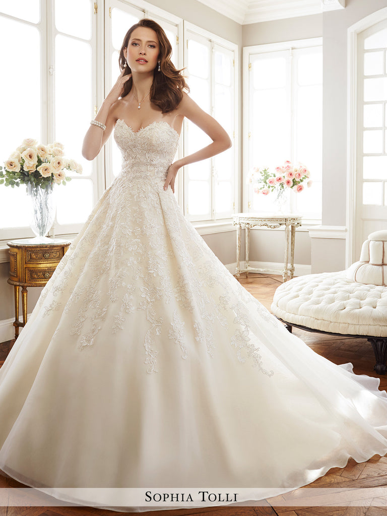 Sophia Tolli strapless fantasy organza with sweetheart neckline wedding ball gown