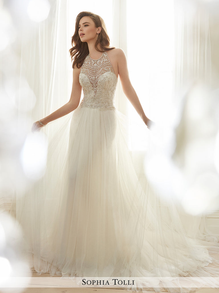 Sophia Tolli sleeveless soft tulle slim A-line and illusion scooped ...