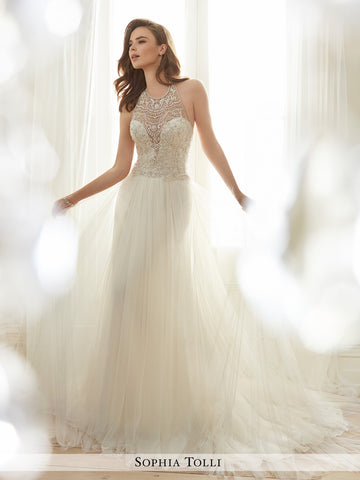 Sophia Tolli sleeveless soft tulle slim A-line and illusion scooped halter neckline wedding gown