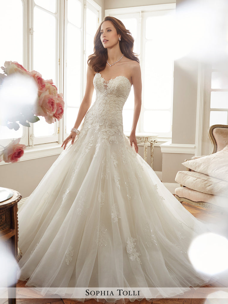 Sophia Tolli strapless misty tulle mermaid sweetheart neckline wedding gown