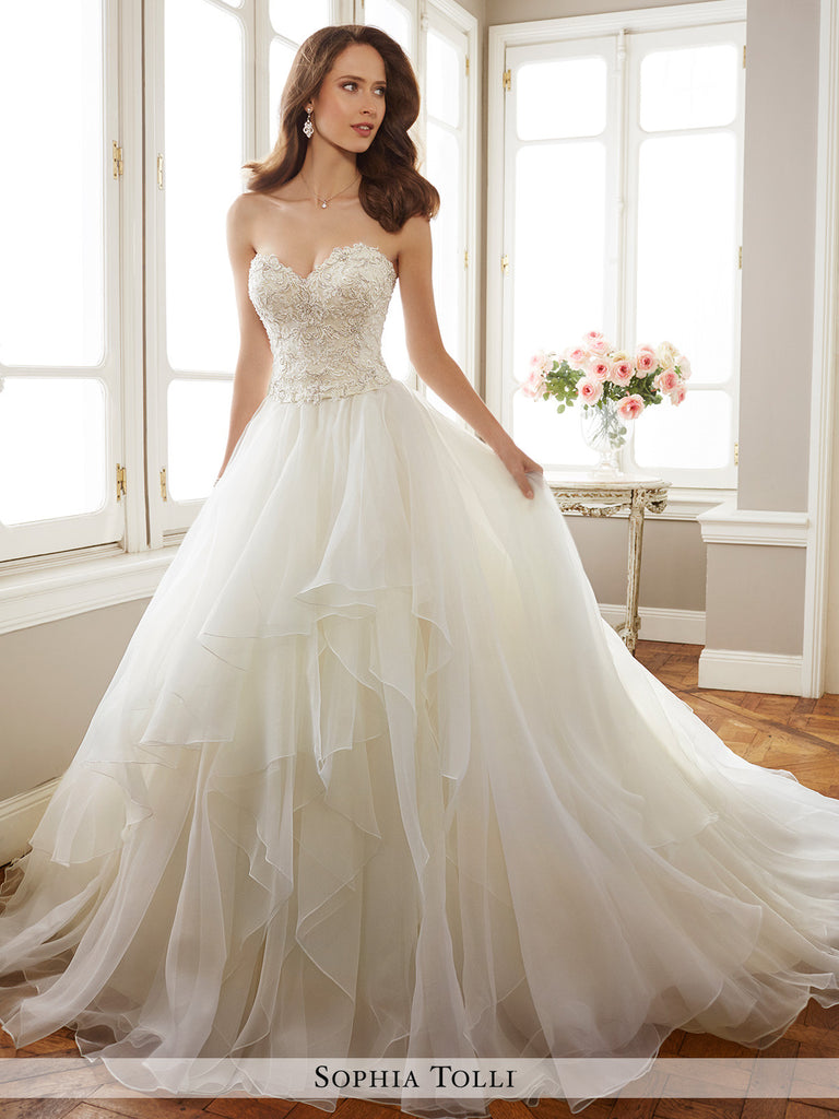 Sophia Tolli two-piece lightweight fantasy organza  full A-line wedding gown