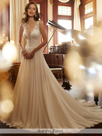 Sophia Tolli sleeveless chiffon A-line with illusion plunging V-neckline wedding gown