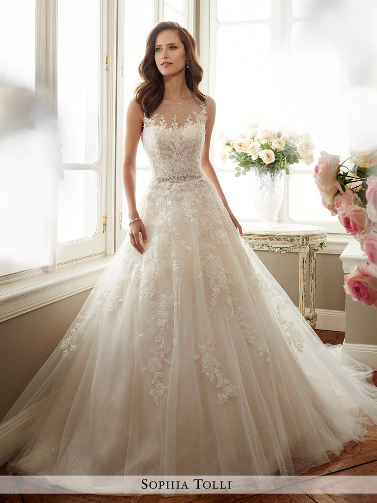 A Line Wedding Dress.Sophia Tolli Sleeveless Misty Tulle And Sequin Full A Line Wedding Gown