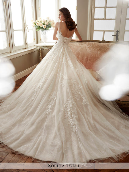 e24cef8be Sophia Tolli sleeveless misty tulle and sequin full A-line wedding gow – Bela  Bridal