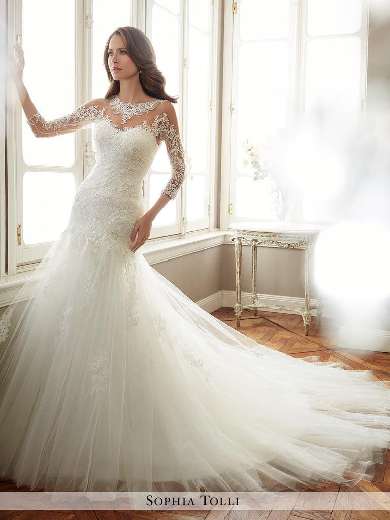 Sophia Tolli Soft Tulle And Soft Satin Mermaid Wedding Gown