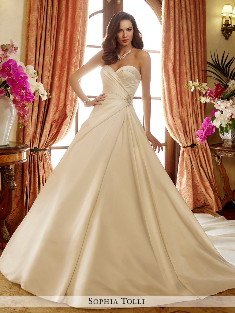 Sophia Tolli Strapless Majestic Satin Full  A-Line With Sweetheart Neckline Wedding Gown