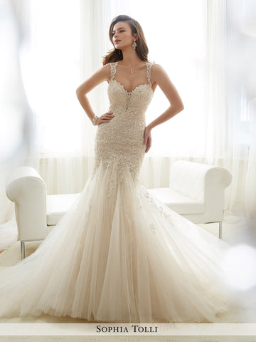 Sophia Tolli sleeveless misty tulle mermaid with illusion lace tapered shoulder straps wedding dress