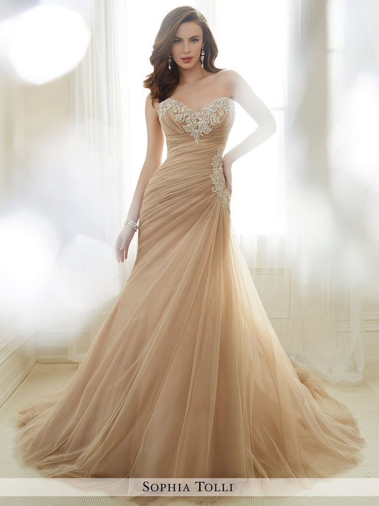 Sophia Tolli strapless asymmetrically draped misty tulle mermaid with a sweetheart neckline wedding gown