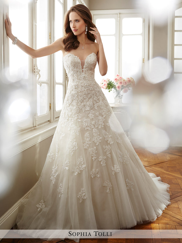 Sophia Tolli Strapless Misty Tulle A-Line With Deep Plunging Sweetheart Neckline  Wedding Gown