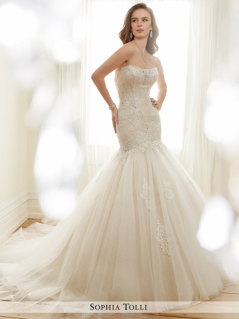 Sophia Tolli strapless allover lace and soft tulle trumpet  wedding gown
