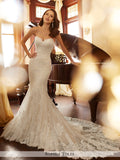 Sophia Tolli strapless misty tulle and Chantilly lace appliqué over sequin mermaid wedding gown