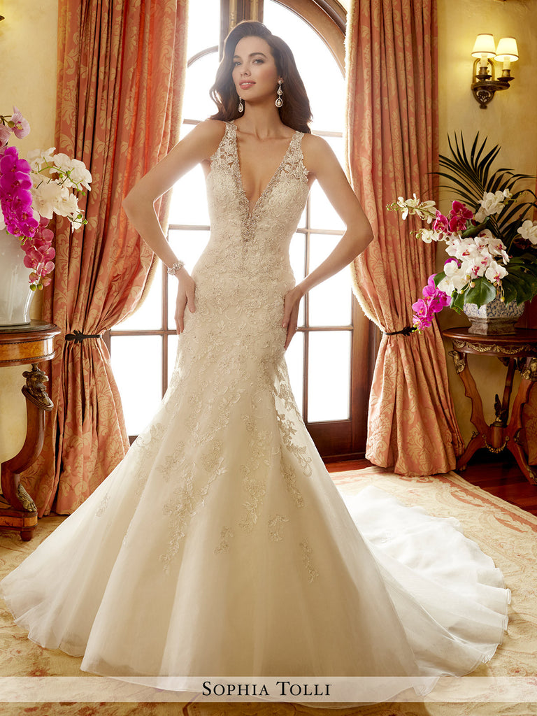 Sophia Tolli sleeveless organza mermaid with semi-sheer illusion shoulder straps wedding dress
