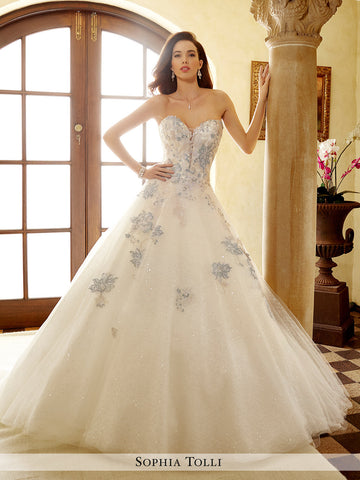 Sophia Tolli Strapless Allover Sequin Lace And Misty Tulle Over Sequin Wedding Ball Gown