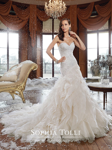 Sophia Tolli Wedding Dress organza lace mermaid trumpet