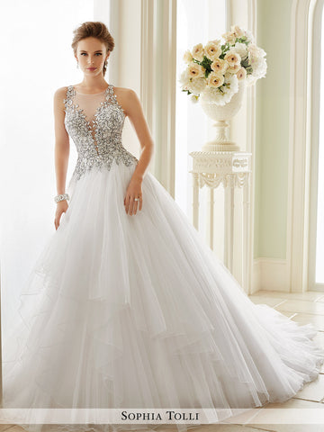 Sophia Tolli Sleeveless Misty Tulle With Slender Illusion Lace Straps Wedding Ball Gown