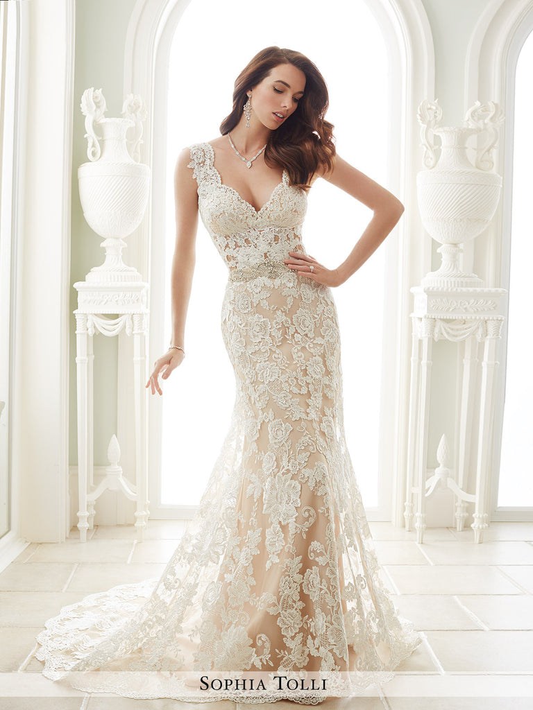 sophia tolli lace over stretch jersey mermaid wedding dress