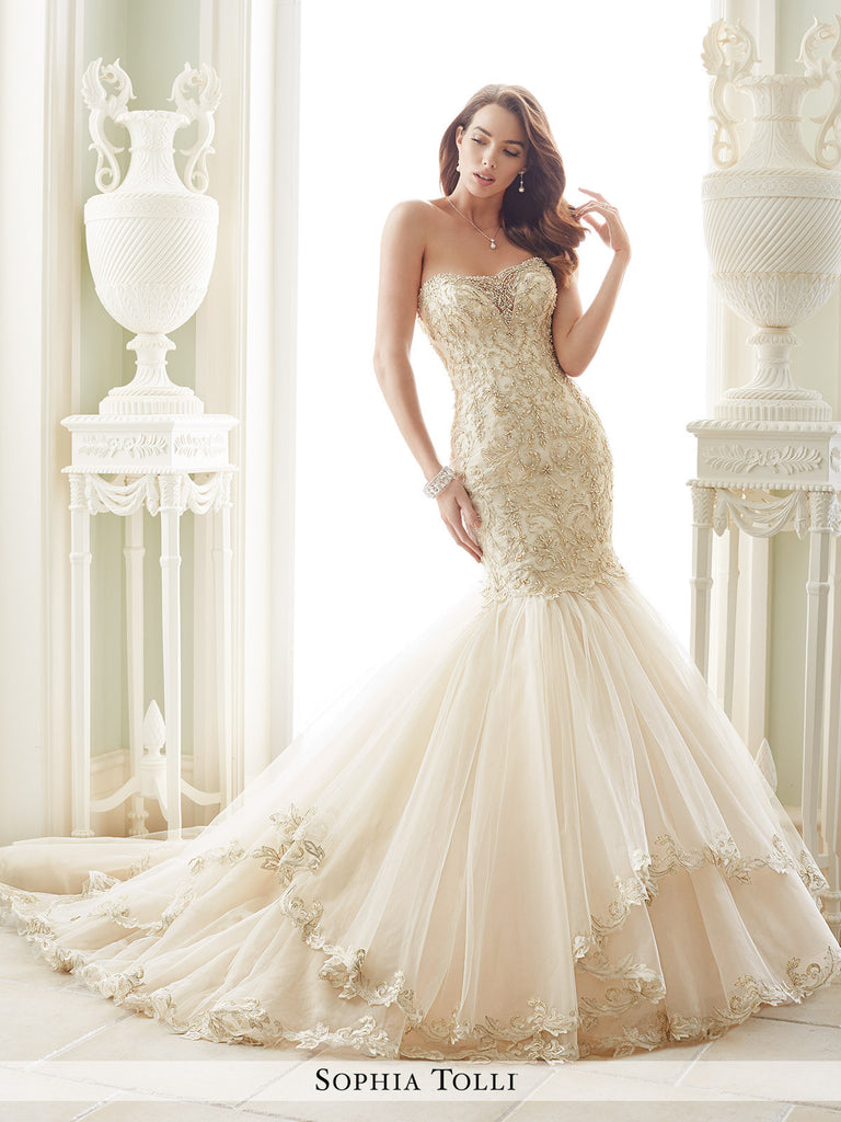 Sophia Tolli Strapless Tulle and Organza Trumpet With Metallic Lace Wedding Gown