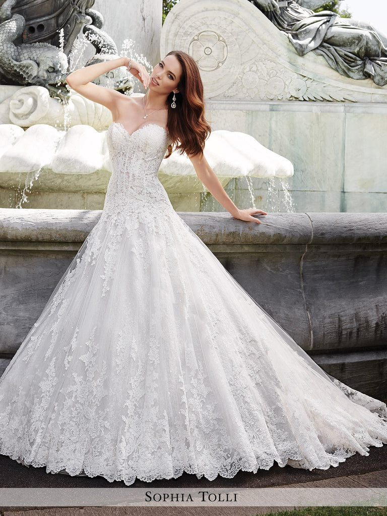 Sequin Wedding Dress | Sophia Tolli Strapless Light Tulle With Lace Appliques And Scattered