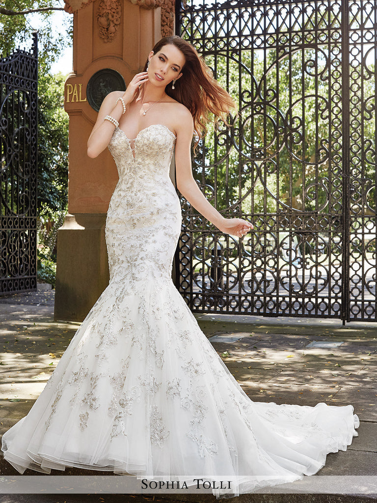 Sophia Tolli Strapless Soft Tulle Trumpet With Crystal Hand-Beaded Lace Appliqués Wedding Gown