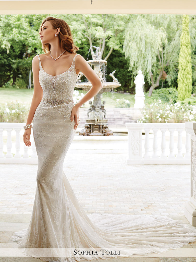 Sophia Tolli Sleeveless Allover Soft Lace With Hand-Beaded Illusion Thin Straps  Wedding Gown