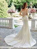 Sophia Tolli Satin Mermaid Gown with Lace Slight Cap sleeves and Sweetheart Neckline Wedding Dress
