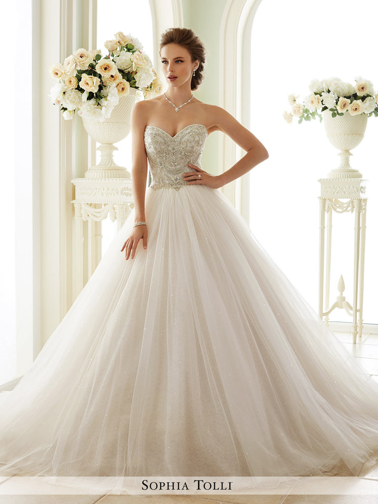 Sophia Tolli Strapless Tulle Over Sequin with sweetheart neckline  Wedding Dress