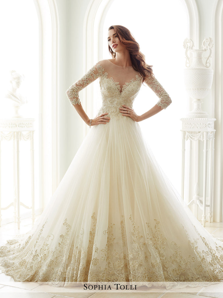Sophia Tolli  A-Line Three-Quarter Length Sleeves Wedding Gown