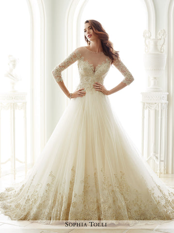 Sophia Tolli A-Line Three-Quarter Length Sleeves Wedding Gown – Bela ...