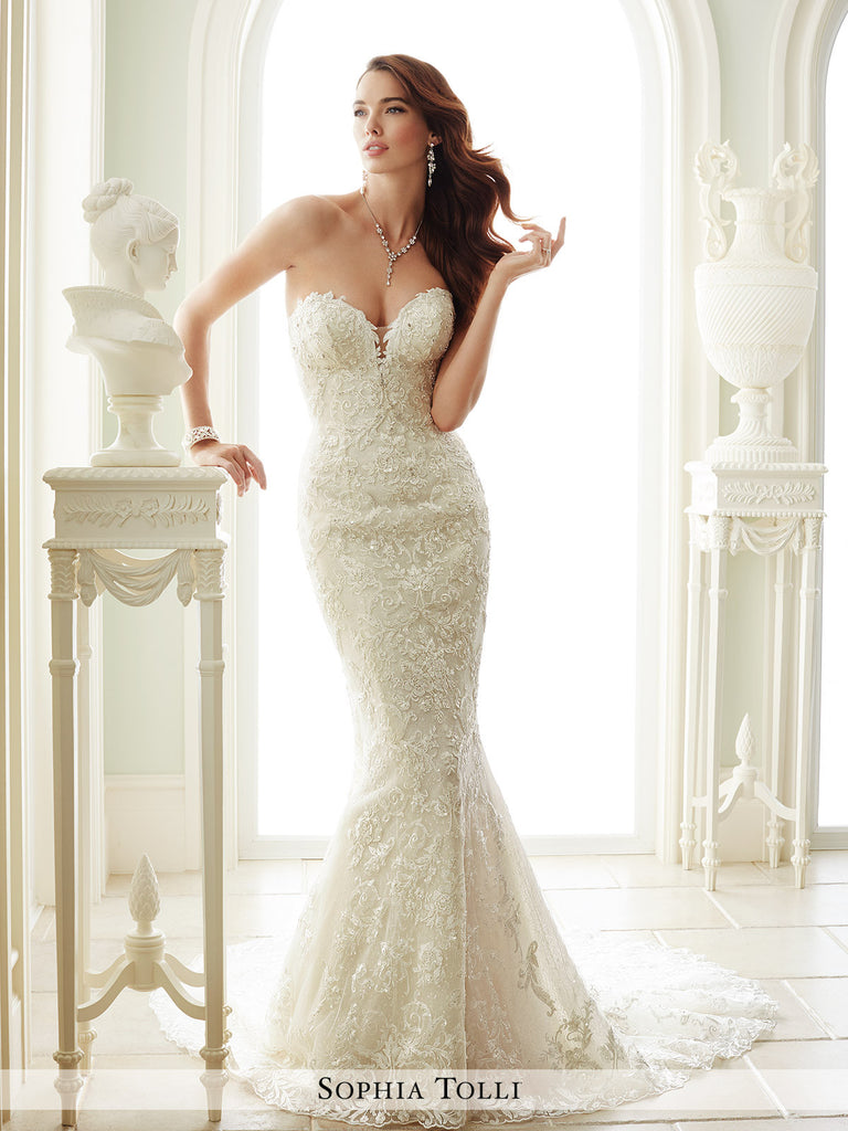 Sophia Tolli Strapless Soft Tulle Mermaid Wedding Dress