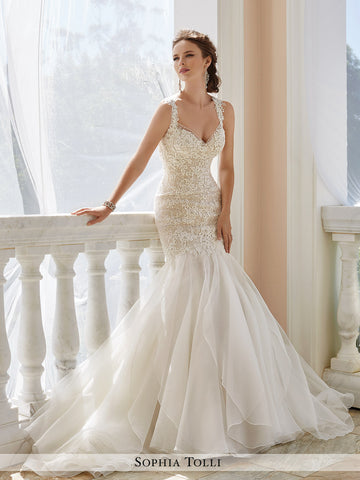 Sophia Tolli Sleeveless Fantasy Organza Trumpet Wedding Dress