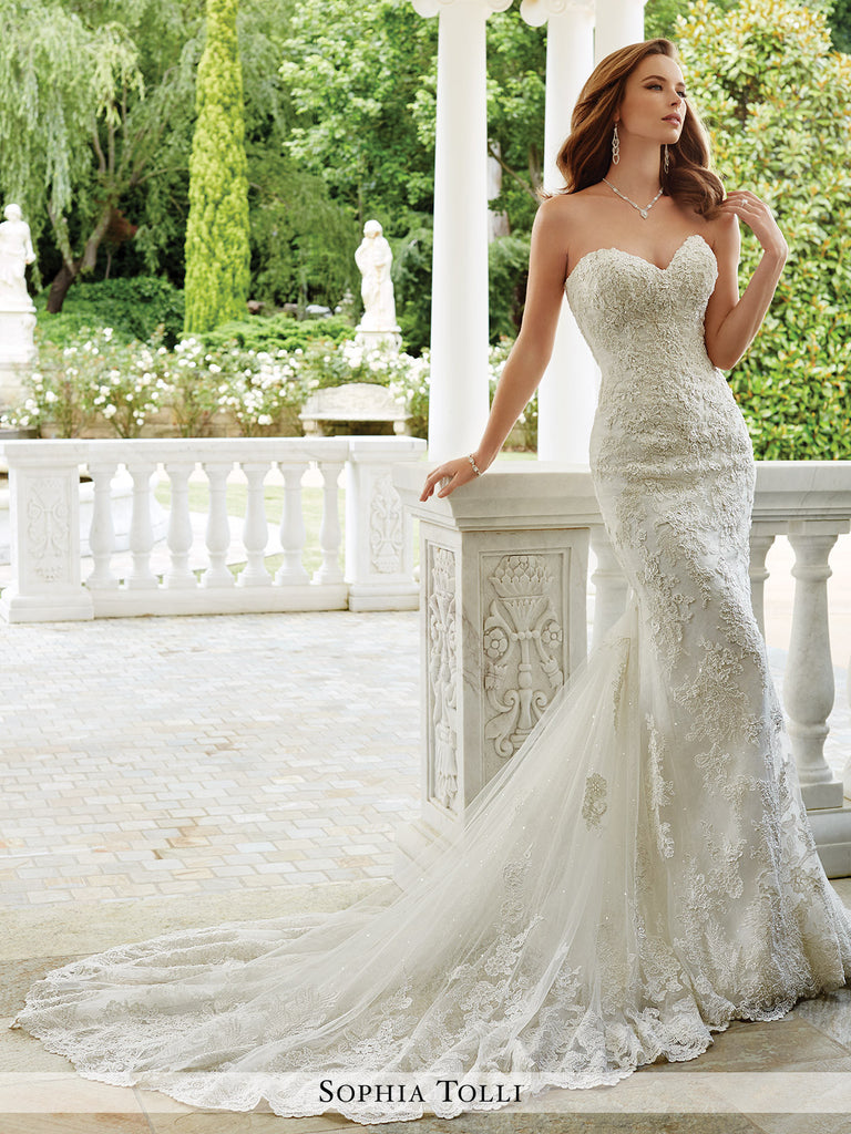 Sophia Tolli Strapless Lace Over Tulle Mermaid Wedding Dress