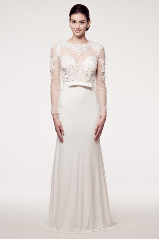 Wedding dress lace A-line LONG SLEEVE, HIGH NECK, SHEATH