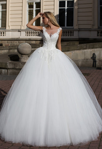Lace tulle short sleeve princess ball gown lace A-Line wedding dress