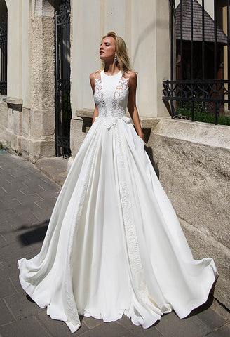 Lace satin princess ball gown lace A-Line wedding dress..