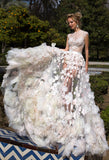 Lace  ivory princess ball gown lace A-Line wedding dress