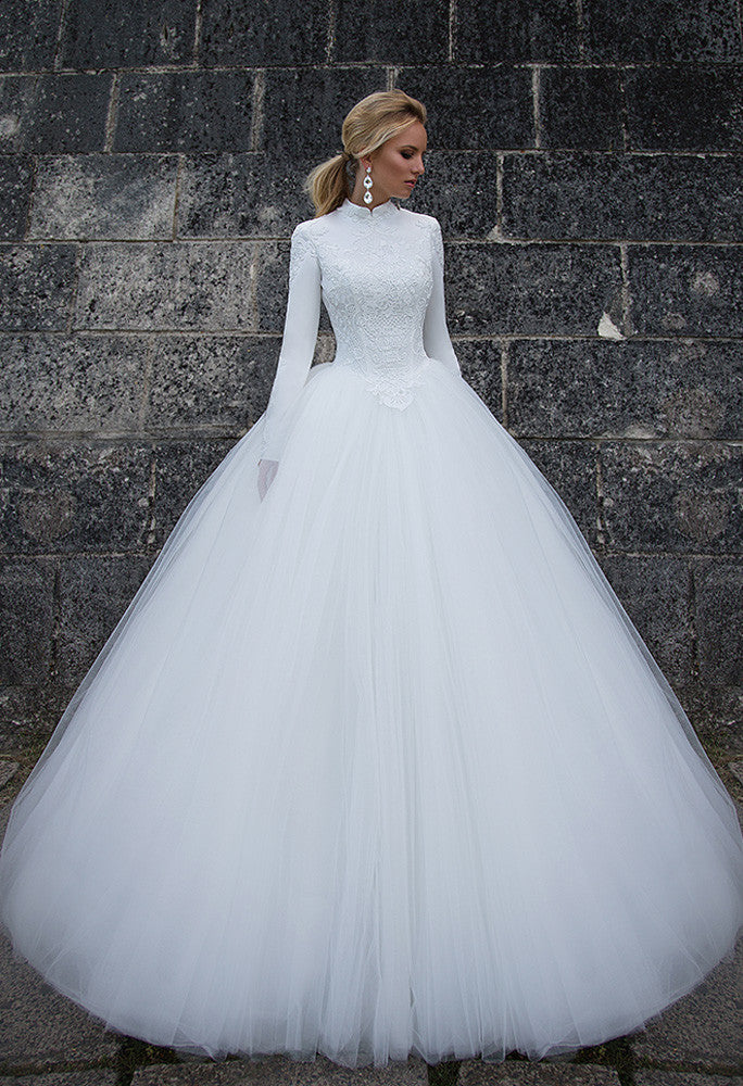 Lace tulle long sleeve princess ball gown lace A-Line wedding dress..