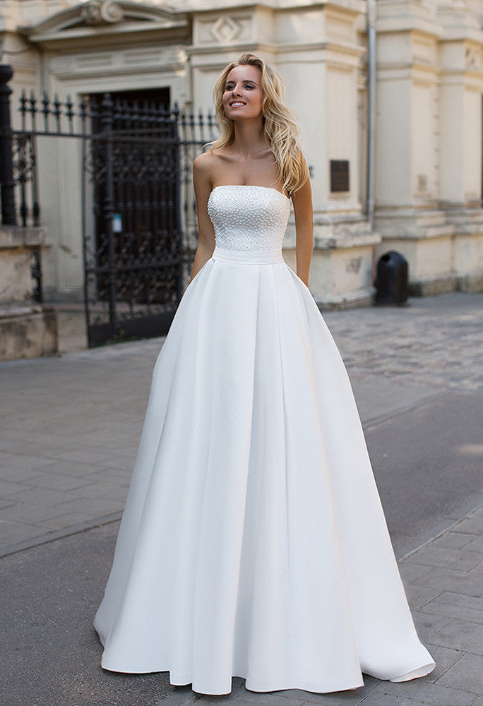 Satin pearl princess ball gown lace A-Line wedding dress – Bela Bridal