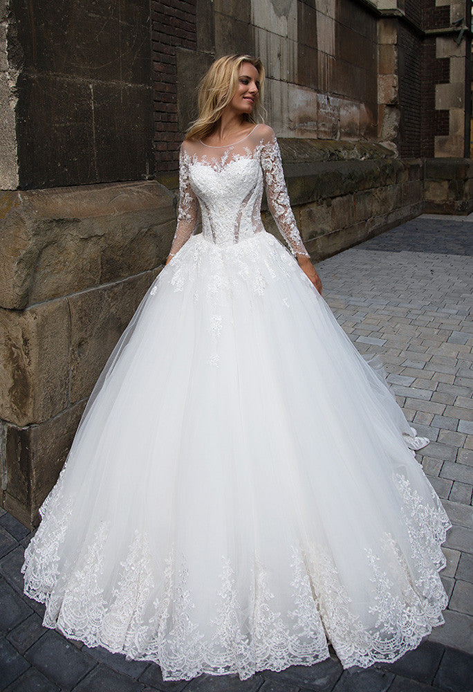 Lace tulle long sleeve ivory princess ball gown lace A-Line wedding ...
