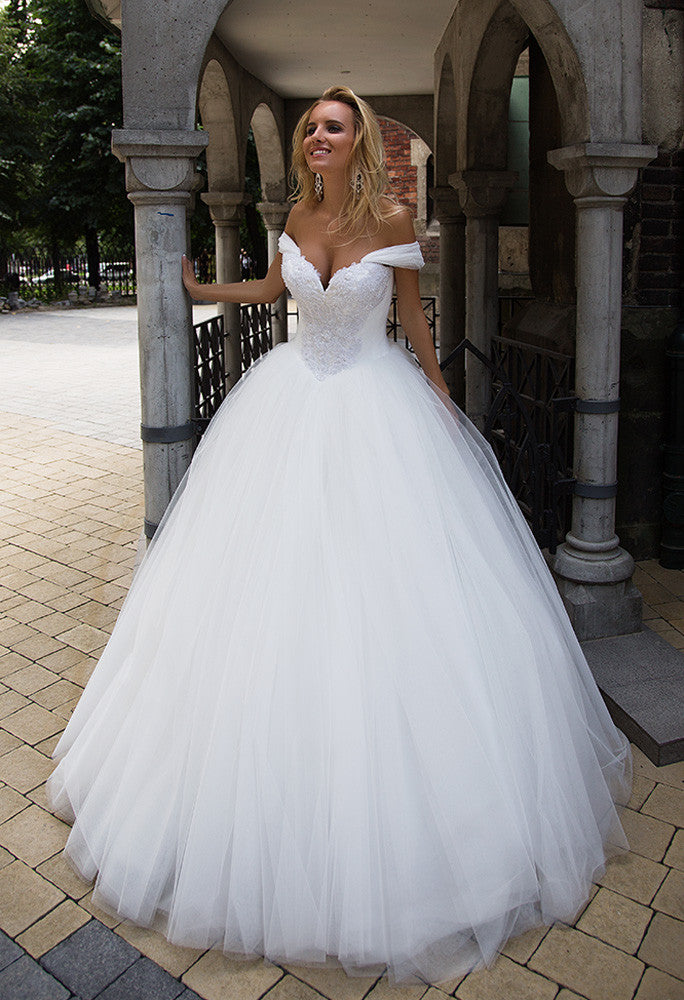 Lace tulle princess ball gown lace A-Line wedding dress