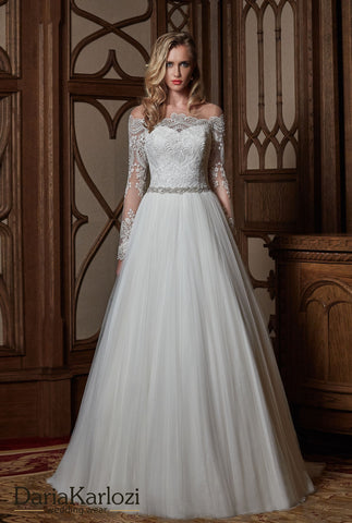 Ivory lace wedding dress ball gown A-Line